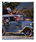 Vintage Christmas Car Fleece Blanket