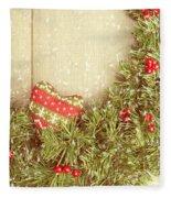 Vintage Christmas Garland Fleece Blanket by Amanda Elwell