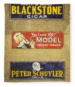 Vintage Cigar And Tobacco Signs Dsc07152 Fleece Blanket