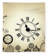 Vintage Clocks Fleece Blanket