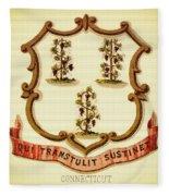 Vintage Connecticut Coat Of Arms - 1876 Fleece Blanket