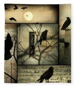 Vintage Crow Art Collage Fleece Blanket