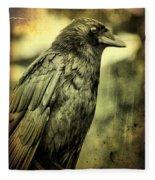 Vintage Crow Fleece Blanket