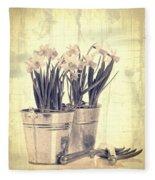 Vintage Daffodils Fleece Blanket
