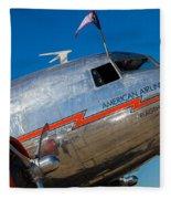 Vintage Dc-3 Airplane Fleece Blanket