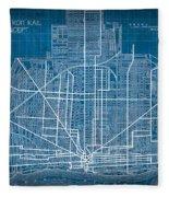 Vintage Detroit Rail Concept Street Map Blueprint Plan Fleece Blanket