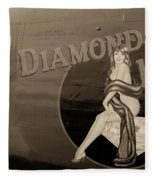 Vintage Diamon Lil B-24 Bomber Aircraft Fleece Blanket