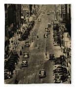 Vintage Downtown View Fleece Blanket
