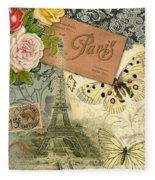 Vintage Eiffel Tower Paris France Collage Fleece Blanket