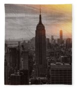Vintage Empire State Building Fleece Blanket