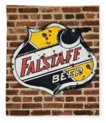 Vintage Falstaff Beer Shield Dsc07192 Fleece Blanket