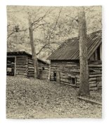 Vintage Farm Buildings Fleece Blanket