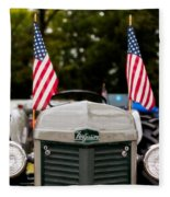 Vintage Ferguson Tractor With American Flags Fleece Blanket