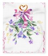 Vintage Flowers From The Heart Fleece Blanket