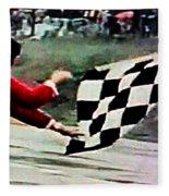Vintage Formula Race Checkered Flag Fleece Blanket