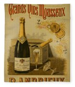 Vintage French Poster Andrieux Wine Fleece Blanket