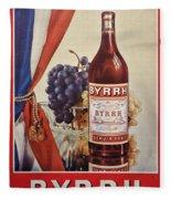 Vintage French Poster Byrrh Fleece Blanket