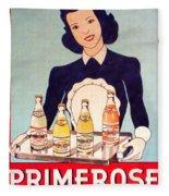 Vintage French Tin Sign Primerose Fleece Blanket