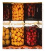 Vintage Fruit And Vegetable Preserves II Fleece Blanket