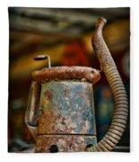 Vintage Garage Oil Can Fleece Blanket
