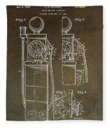 Vintage Gas Pump Patent Fleece Blanket
