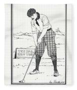 Vintage Golfer 1900 Fleece Blanket