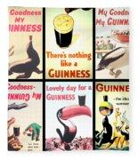 Vintage Guinness  Fleece Blanket by Georgia Fowler