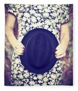Vintage Hat Flower Dress Woman Fleece Blanket
