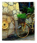 Antique Store Hay Rake And Bicycle Fleece Blanket