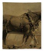 Vintage Horse Plow Fleece Blanket