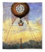 Vintage Hot Air Balloon Over Eiffel Tower Fleece Blanket