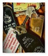 Vintage Hotel Keys Fleece Blanket