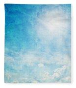 Vintage Image Of Sunny Blue Sky Fleece Blanket