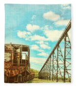 Vintage Industrial Postcard Fleece Blanket