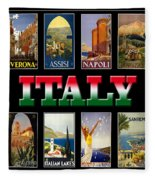 Vintage Italy Travel Posters Fleece Blanket