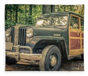 Vintage Jeep Station Wagon Fleece Blanket