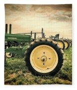 Vintage John Deere Tractors Fleece Blanket