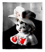 Vintage Lady Head Vase - Black And White With Red Fleece Blanket