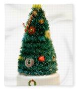 Vintage Lighted Christmas Tree Decoration Fleece Blanket
