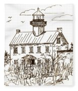 Vintage Lines Of East Point Lighthouse Fleece Blanket