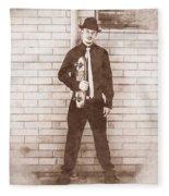 Vintage Male Skateboarder Fleece Blanket