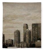 Vintage Manhattan Skyline Fleece Blanket