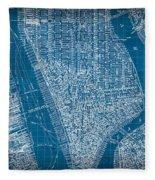 Vintage Manhattan Street Map Blueprint Fleece Blanket