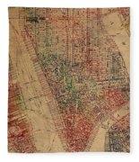 Vintage Manhattan Street Map Watercolor On Worn Canvas Fleece Blanket