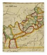 Map Of Kentucky 1812 Fleece Blanket