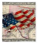Vintage Map Of Texas 2 Fleece Blanket