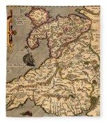 Vintage Map Of Wales 1633 Fleece Blanket