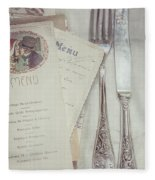 Vintage Menu Cards Knife And Fork Fleece Blanket