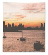 Vintage Miami Skyline Fleece Blanket