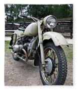 Vintage Military Motorcycle Fleece Blanket